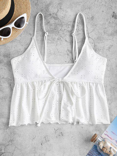 women ZAFUL Front Tie Broderie Anglaise Plunge Swim Top - WHITE M Mobile