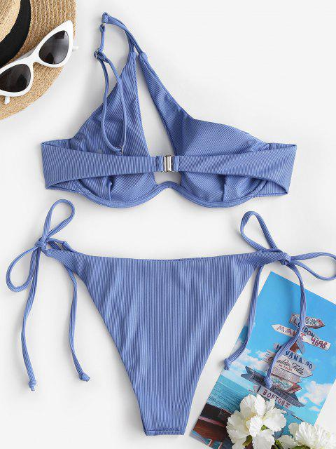 affordable ZAFUL One Shoulder Ribbed Tie Side Monowire Bikini Swimwear - BLUE M Mobile