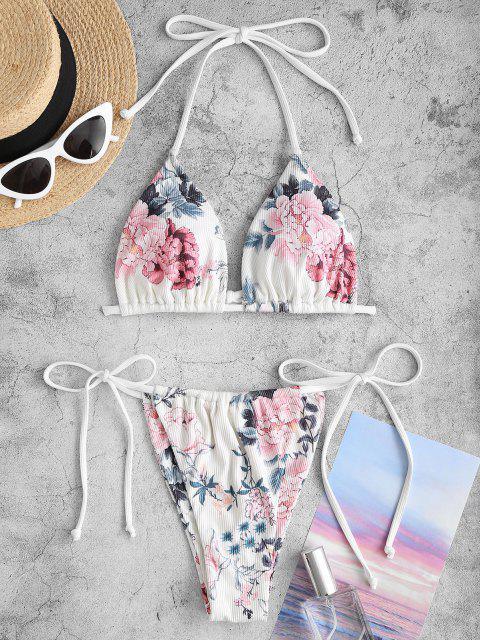 Costume da Bagno Bikini Floreale a Costine Convertibile di ZAFUL - Bianca M Mobile
