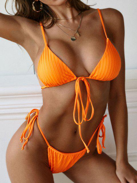 fashion ZAFUL Tie Side Ribbed Convertible String Bikini Swimwear - ORANGE L Mobile