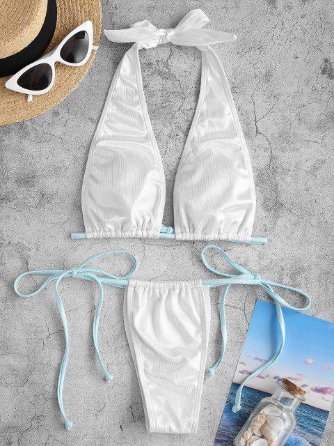 chic ZAFUL Halter Side Tie Plunge Shiny Disco Bikini Swimwear - WHITE S Mobile