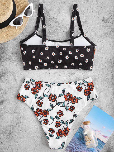 ZAFUL Geripptes Tankini Badebekleidung mit Blumendruck - Schwarz S Mobile