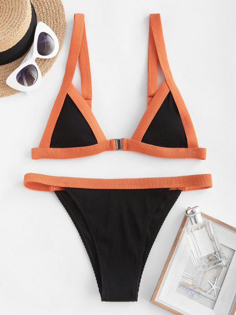 ZAFUL Bikini de Cierre Delantero Acanalado con Textura - Negro S Mobile