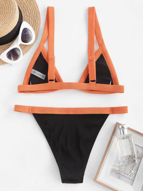 ZAFUL Strukturierte Gerippte Binding Bikini Badebekleidung mit Vorderseitigem Verschluss - Schwarz L Mobile