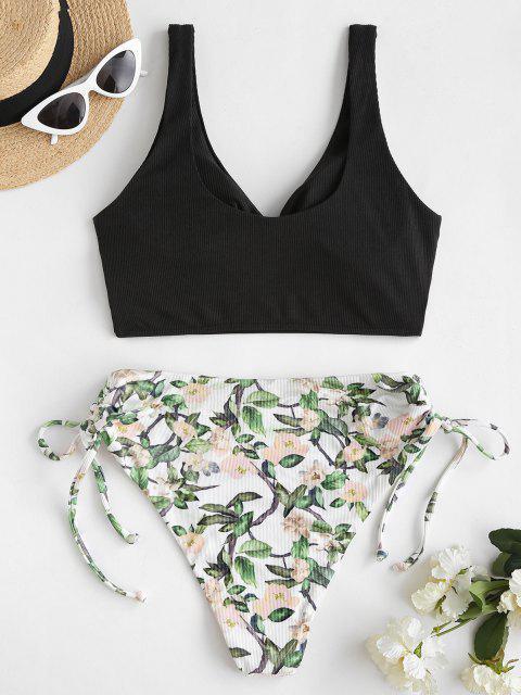 ZAFUL Badebekleidung mit Gerippten Pflanzendruck und Rüschen - Schwarz S Mobile