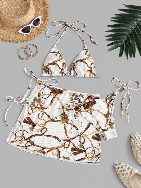 ZAFUL Maillot de Bain Bikini Baroque Côtelé avec Chaîne Trois Pièces - Blanc S Mobile