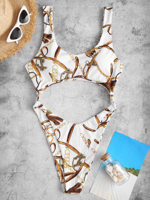 ZAFUL Cutout Chains Print O Ring Monokini Swimwear - أبيض S Mobile
