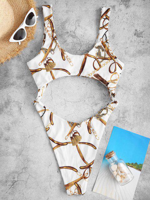 ZAFUL Maillot de Bain Monokini Découpé à Chaîne en O Imprimée - Blanc L Mobile