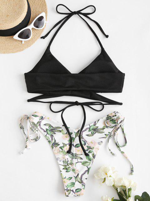 Costume da Bagno Bikini Incrociato Stampato Floreale di ZAFUL con Halter - Nero S Mobile