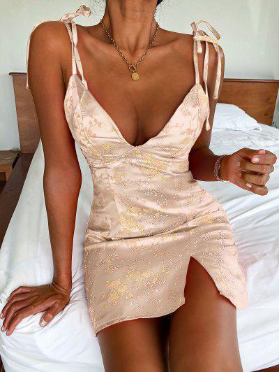 ZAFUL Tie Shoulder Floral Jacquard Slit Oriental Dress - Light Yellow M