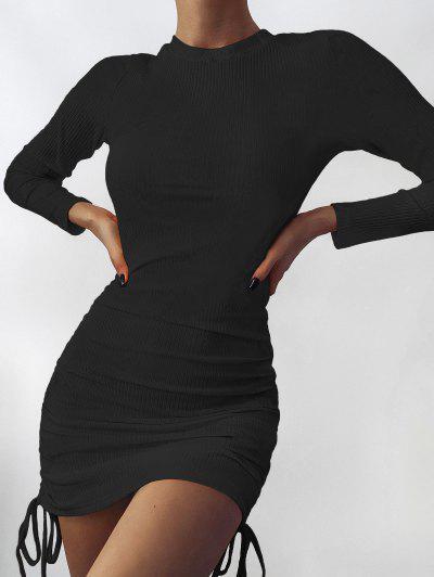 Drawstring Hem Ribbed Mini Bodycon Dress - Black Xl