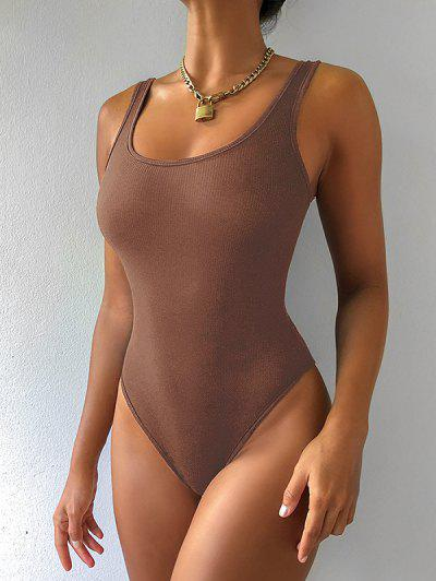 Plain U Neck Ribbed Bodysuit - Chocolate M