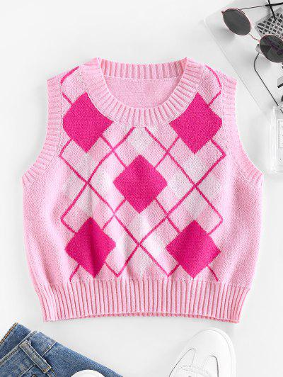 ZAFUL Argyle Rib Trim Crop Sweater Vest - Pink S