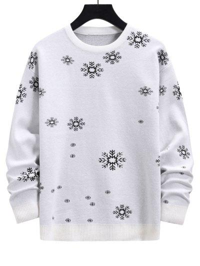 Snowflake Graphic Christmas Crew Neck Sweater - Milk White M