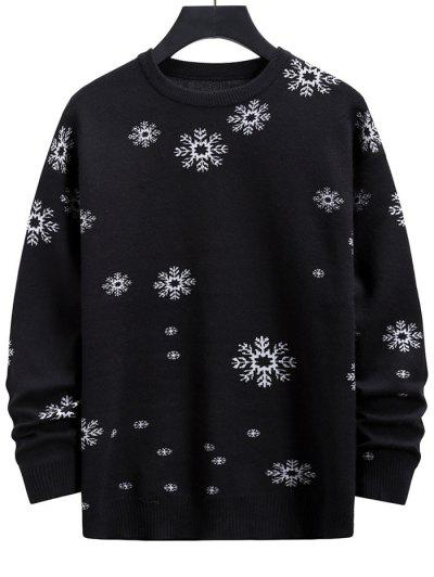 Snowflake Graphic Christmas Crew Neck Sweater - Black M