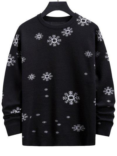 Snowflake Graphic Christmas Crew Neck Sweater - Black S