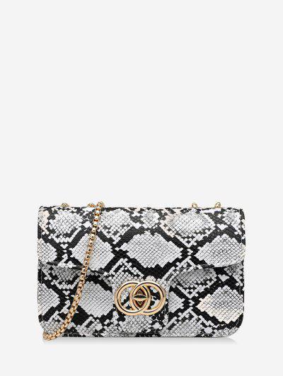 Retro Schlangenhaut Muster Kette Tasche - Weiß