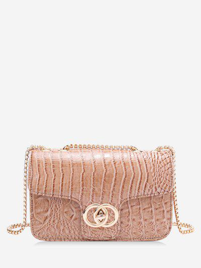 Retro Snakeskin Pattern Chain Bag - Light Brown
