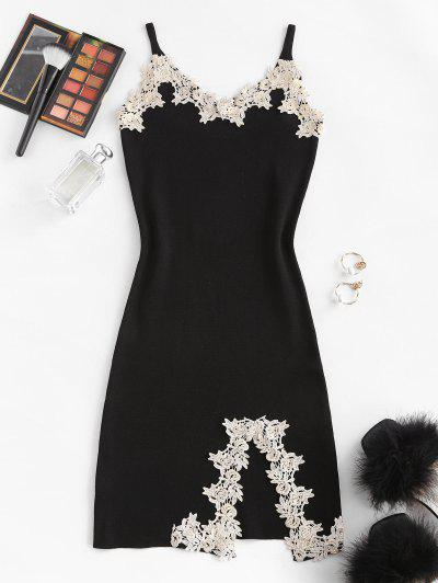 Flower Applique Knitted Slit Bodycon Mini Dress - Black
