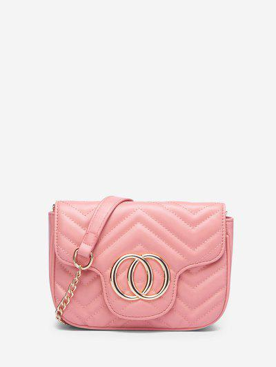 Circle Pattern Quilted Crossbody Bag - Light Pink