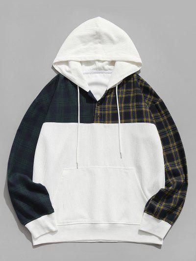 Colorblock Plaid Pattern Corduroy Hoodie - White L