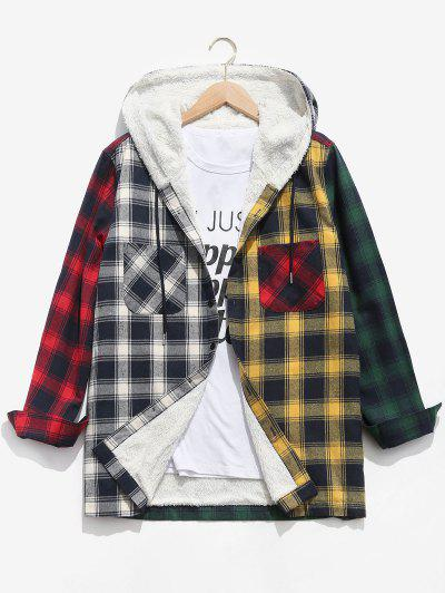 Colorblock Plaid Pocket Fluffy Hooded Shirt Jacket - Deep Green M