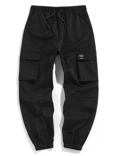 ZAFUL Drawstring Letter Applique Cargo Pants - Black L