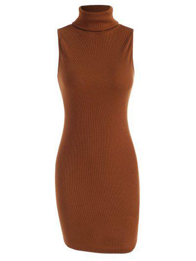 ZAFUL Ribbed Turtleneck Slinky Tank Dress - Deep Coffee S
