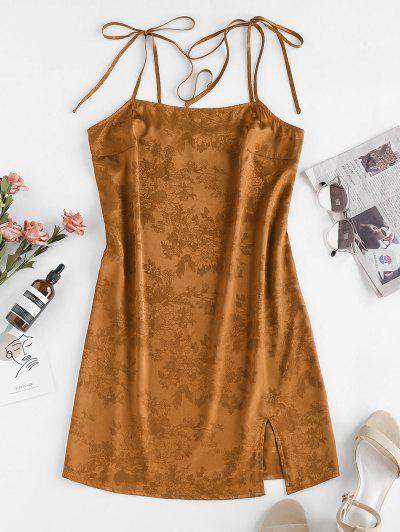 ZAFUL Jacquard Tie Shoulder Cami Slit Dress - Deep Yellow M