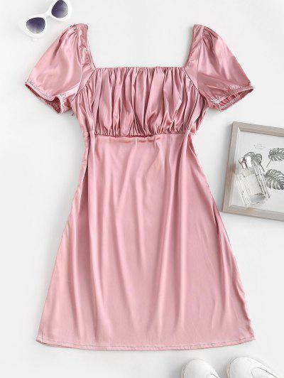 ZAFUL Square Collar Silky Satin Ruched Milkmaid Dress - Light Pink S