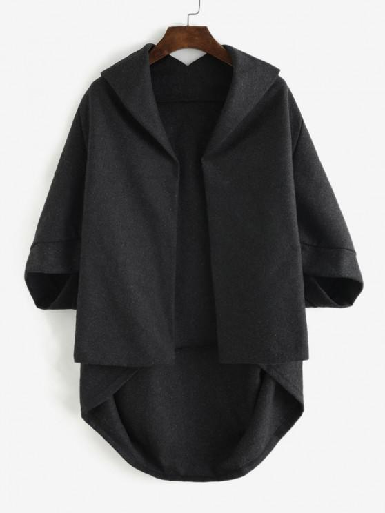 Open Front Tunic Cape Coat - الرمادي الداكن S