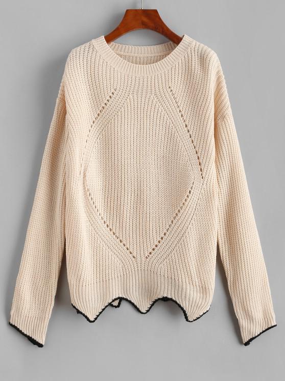 women's ZAFUL Drop Shoulder Pointelle Knit Uneven Hem Sweater - LIGHT YELLOW S