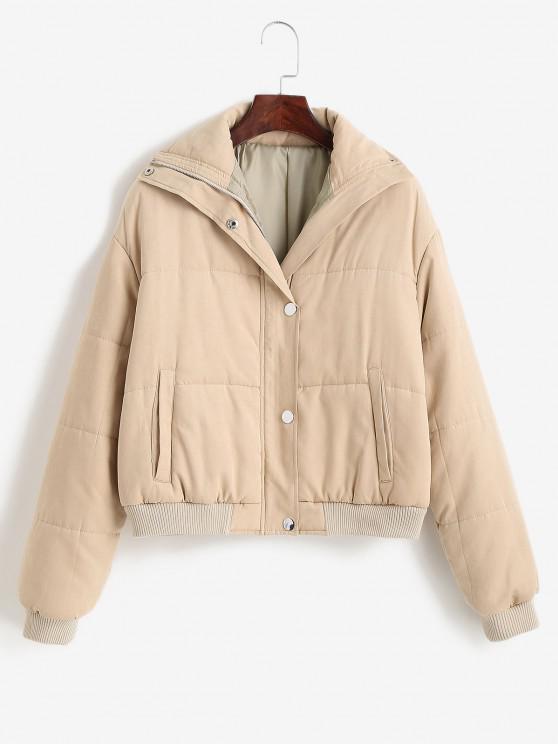 fashion ZAFUL Padded Snap Button Zip Pocket Puffer Coat - LIGHT KHAKI L