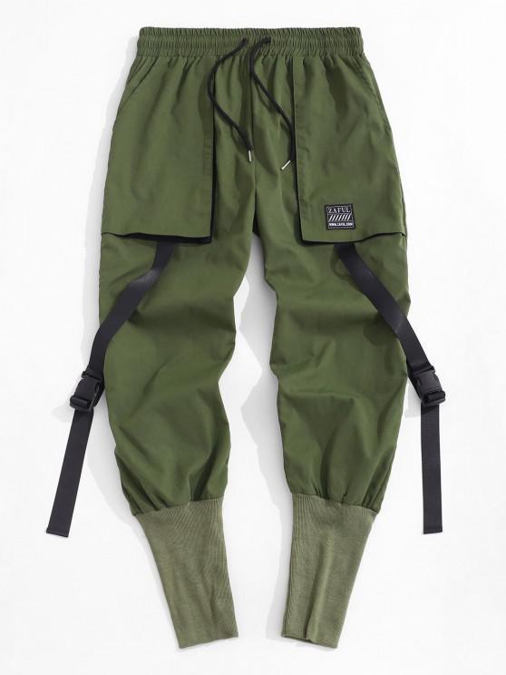 Release Buckle Strap Cargo Pants - ديب غرين M