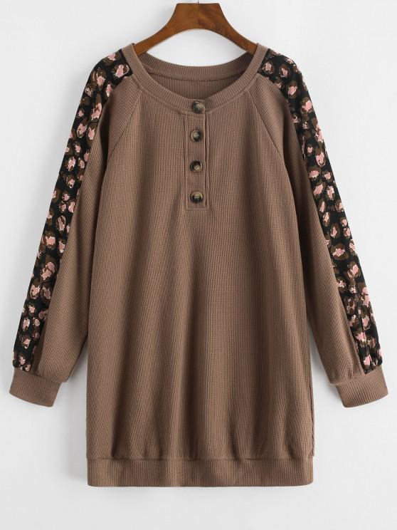 womens ZAFUL Printed Panel Button Front Long Sleeve Dress - COFFEE M