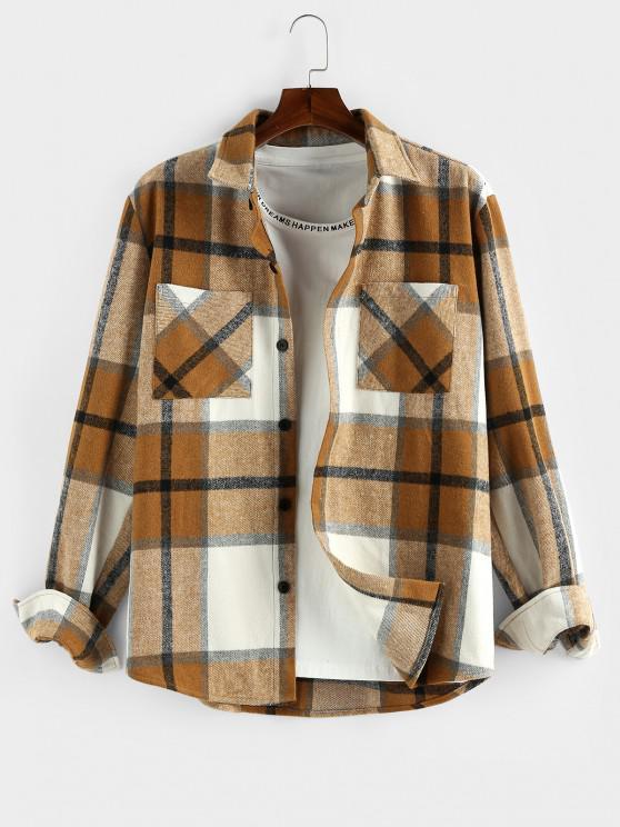 affordable ZAFUL Plaid Print Double Pockets Wool Blend Jacket - DEEP YELLOW 2XL