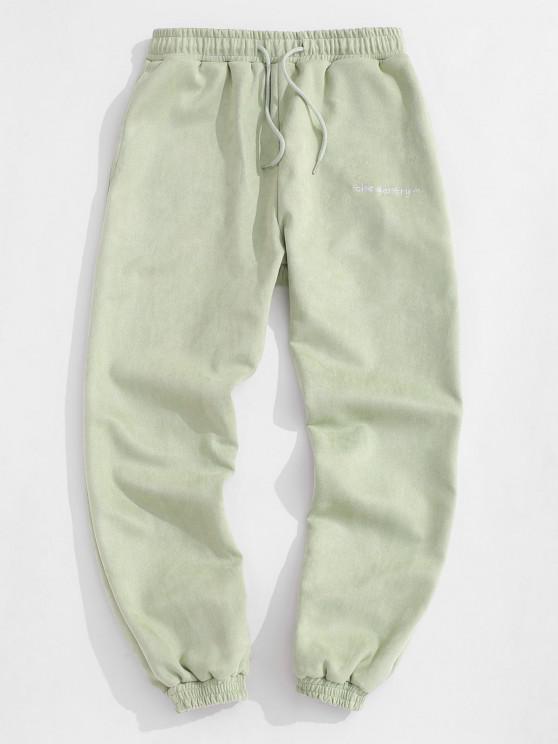 Jogger Pantalones de Gamuza Bordado de Letras - Verde claro S