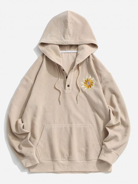 lady Sunflower Embroidery Half Button Corduroy Hoodie - LIGHT COFFEE 2XL