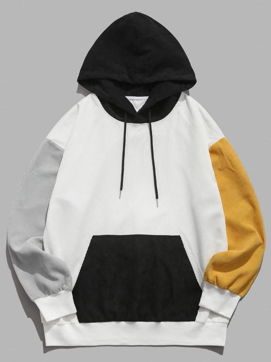 ZAFUL Colorblock Drop Shoulder Corduroy Hoodie - أبيض 2XL