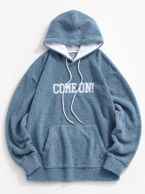 Come On Embroidery Elbow Patched Teddy Hoodie - أزرق 2XL