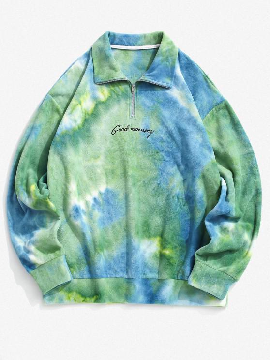 Tie Dye Good Morning Embroidery Fleece Sweatshirt - أزرق فاتح S