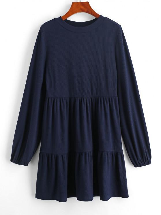 ZAFUL Mini Vestido de mangas compridas com Nervuras - Azul Escuro M