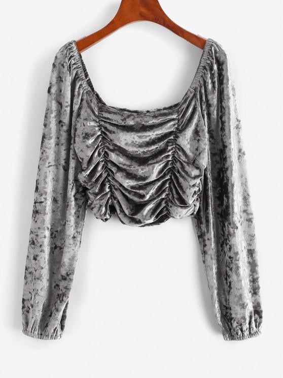 lady Ruched Velvet Crop T Shirt - LIGHT GRAY L