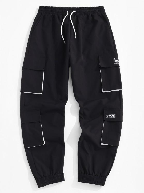 buy Letter Applique Multi Pockets Cargo Pants - BLACK L