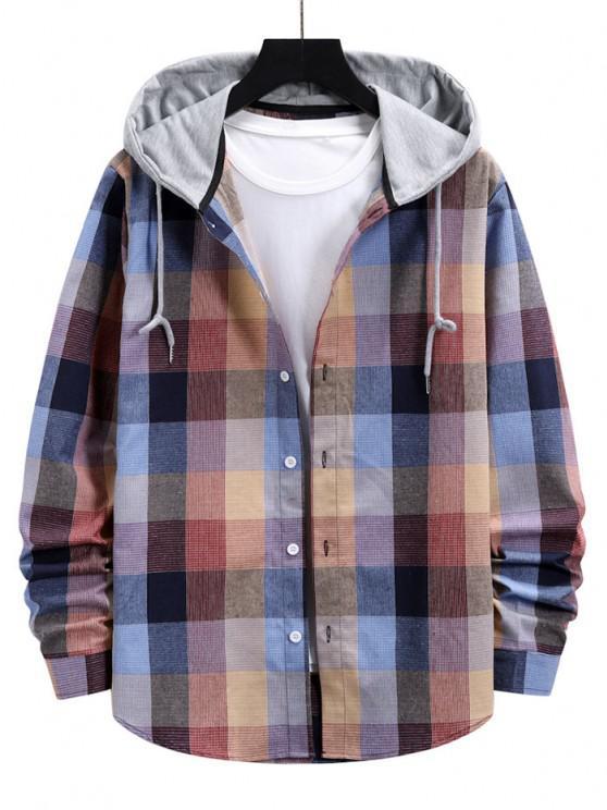 Colorblock Hood Plaid Shirt Jacket - زهري XXL