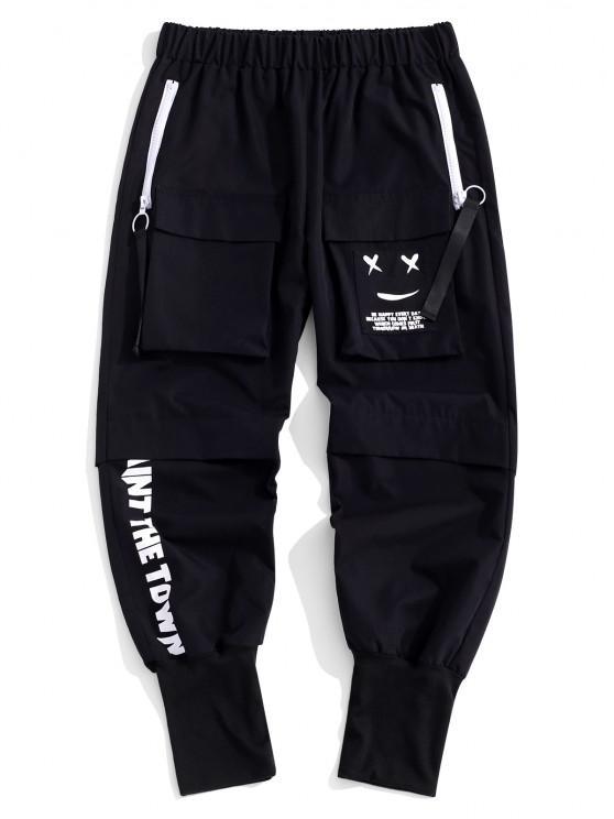 Pantalones de Cargo con Estampada de Letras - Negro S