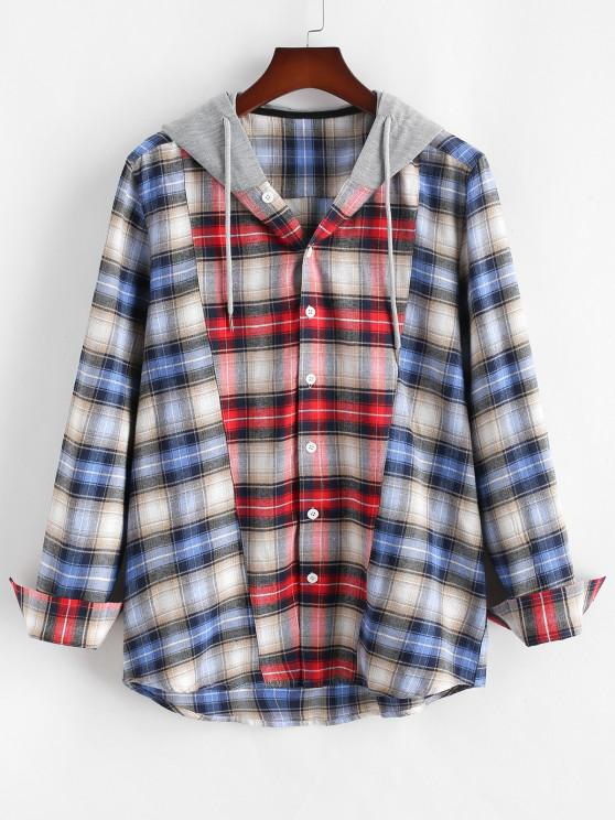 sale Colorblock Plaid Hooded Shirt - RED S