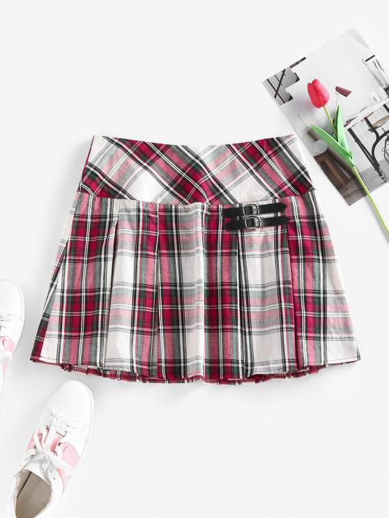 affordable ZAFUL Plaid Buckle Embellished Pleated Mini Skirt - MULTI S