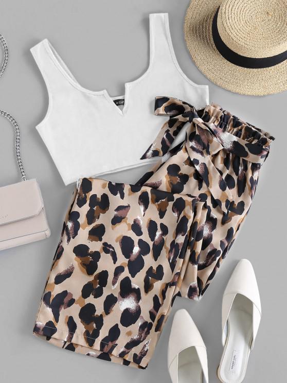 trendy ZAFUL V Cut Leopard Wide Leg Paperbag Pants Set - WHITE S