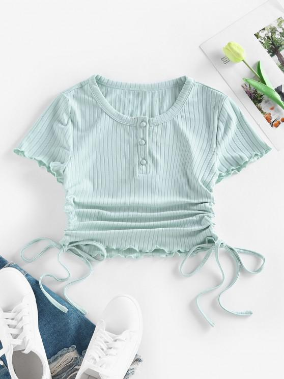 latest ZAFUL Ribbed Cinched Lettuce Trim Henley T Shirt - LIGHT GREEN L
